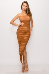 Mocha Ruched Midi Dress