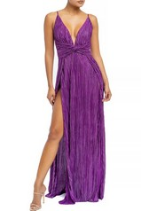 Purple Pleated Slit Maxi Dress