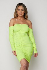 Neon Yellow Ruched Off Shoulder Dress