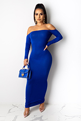 Kylie Royal Blue Long Sleeves Midi Dress