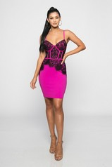 Fuchsia Scalloped Lace Bustier Dress