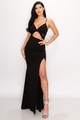 Black Cut Out Slit Maxi Dress