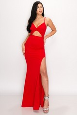 Red Cut Out Slit Maxi Dress