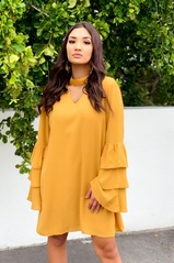 Mustard Bell Sleeve Woven Dress