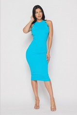 Teal Sleeveless Midi Dress