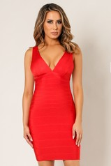 Red V Neck Bandage Dress