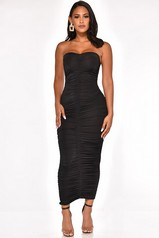 Black Ruched Strapless Maxi Dress