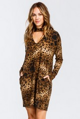 Prowling Around Leopard Print Knit Dress