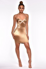Gold Glitter Satin Bustier Dress