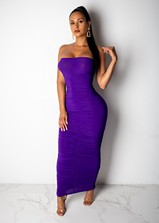 Purple Ruched Strapless Maxi Dress