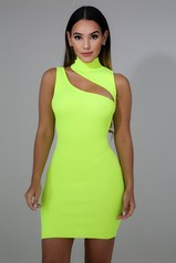 Neon Yellow Slash Mini Dress