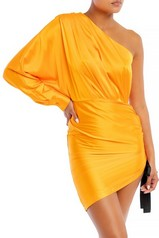 Orange One Shoulder Satin Scrunch Dress