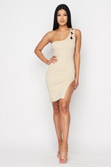 Taupe Sleeveless One Shoulder Dress