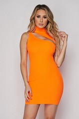 Neon Orange Slash Mini Dress