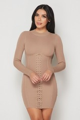 Mocha Ribbed Long Sleeves Corset Lace Up Dress