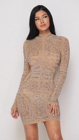 Nude Rainbow Rhinestone Bodycon Dress
