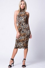 Animal Print Mock Neck Midi Dress