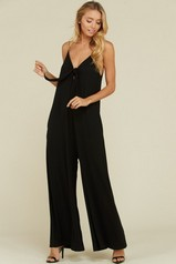 Black Plunge Front Wide Leg Jumpsuit