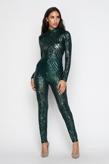Hunter Green Sequin Jumpsuit