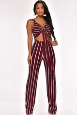 Burgundy Cut Out Stripe Jumpsuit