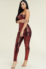 Red Metallic Strapless Jumpsuit