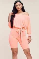 Coral French Terry Romper