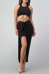 Black Two Piece Skirt Set
