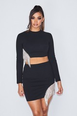 Date With Babe Skirt Set - Black
